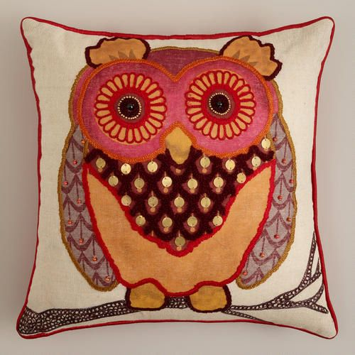 Rust Owl Throw Pillow At Cost Plus World Market >>