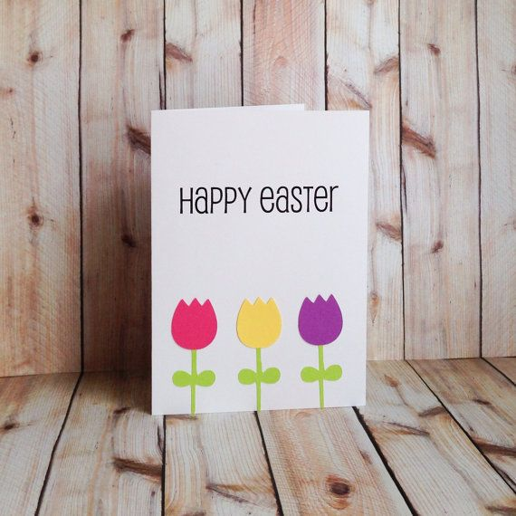 Easter Card, Easter Greeting Card, Spring Flowers, Tulips, Handmade Card on Etsy, $4.50