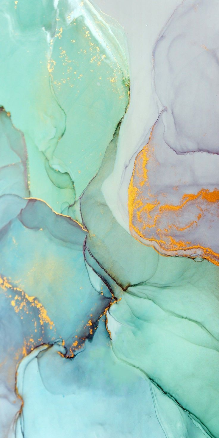Aesthetic Teal And Gold Marble Background