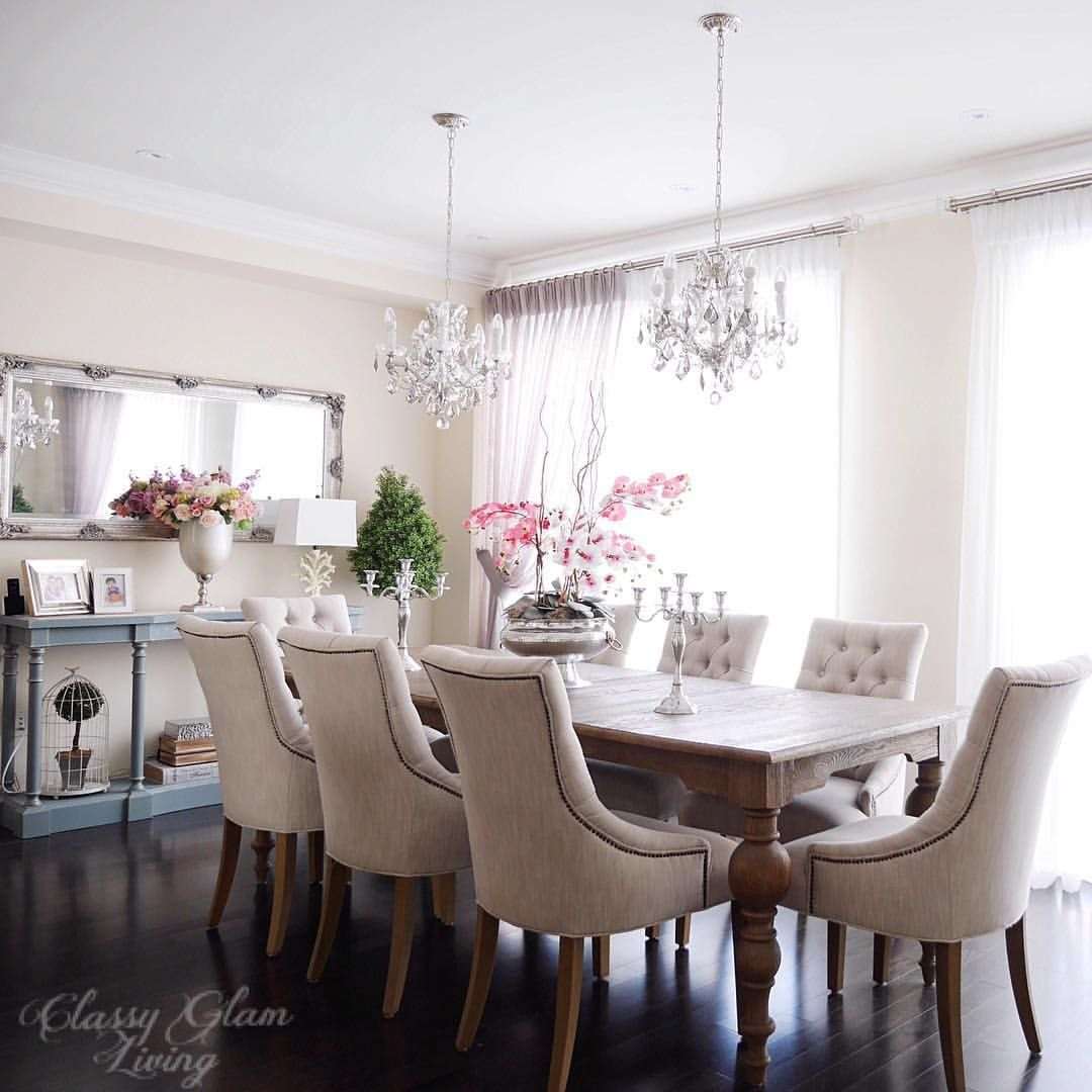 Dining Room Double Chandelier Console Table Styling Restoration Hardware And Chairs