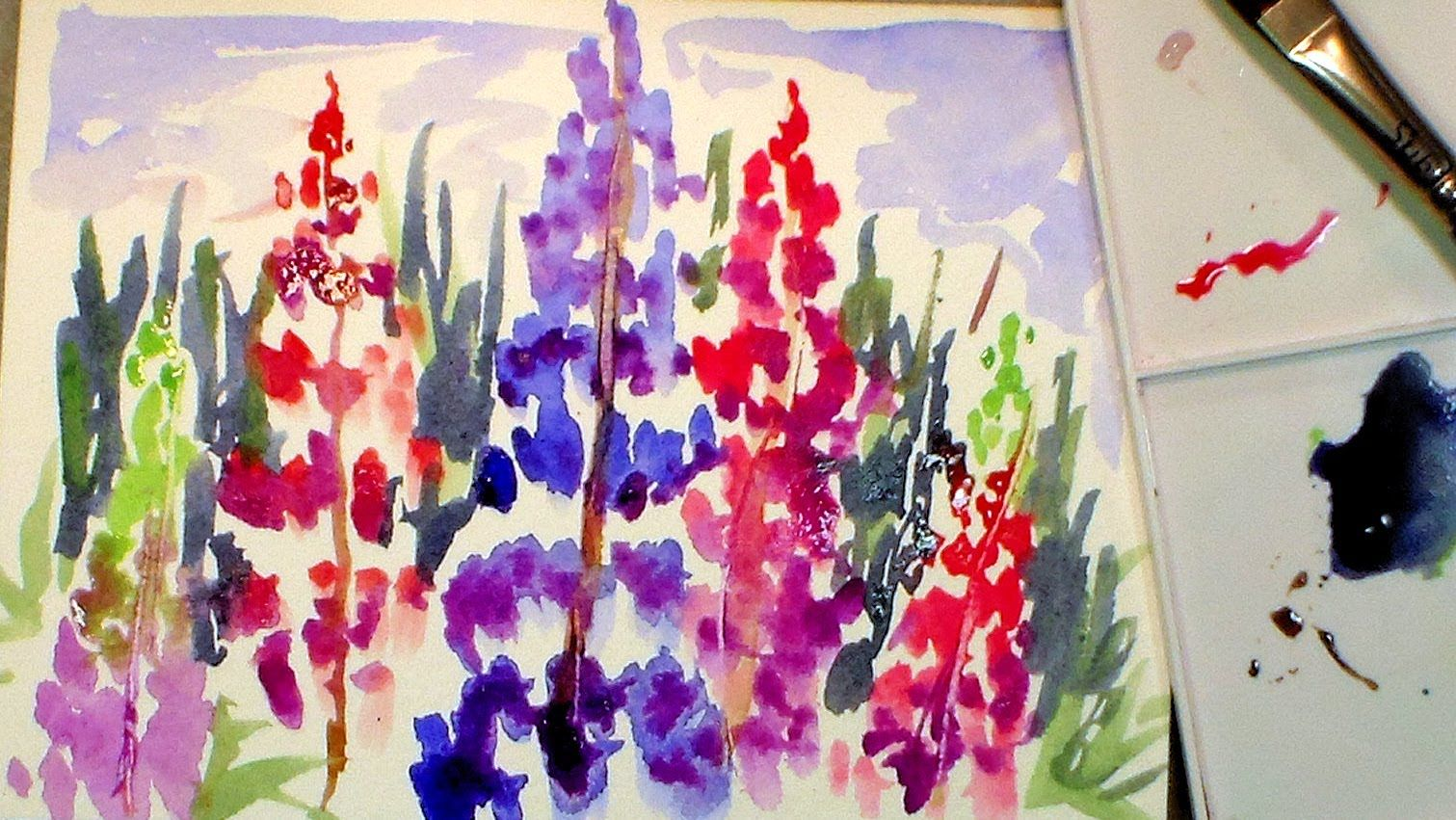 How to Paint Lupine Flowers in Watercolor (full tutorial ...