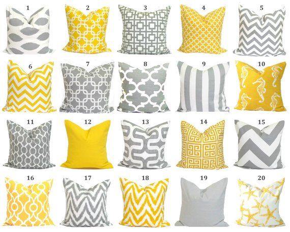 2ff71e813e8 Decorative Pillow Cover.Gray Pillow.Cushion Cover.Grey Cushion.Yellow Dec