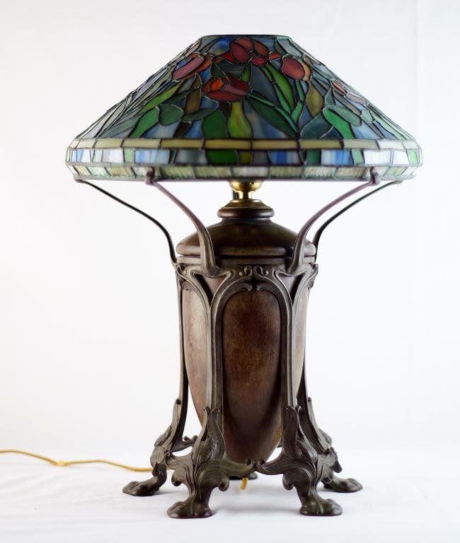 Tiffany studios stained glass art nouveau lamp on tiffany studios stained glass art nouveau lamp lot 155 aloadofball Images