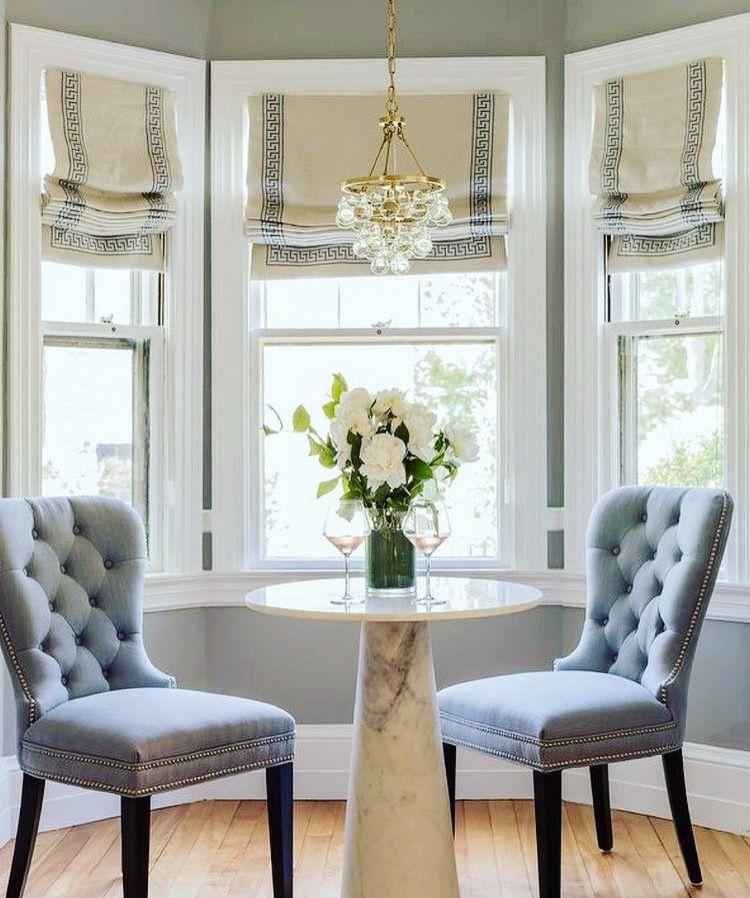 Roman Shades Roman Shades Living Room Dining Room Windows Bay Window Treatments