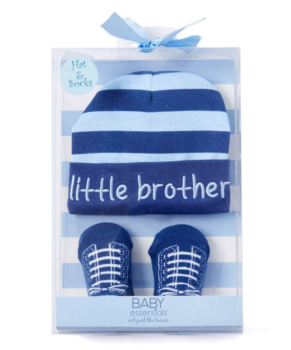 Baby Essentials Blue Stripe  Little Brother  Hat   Sock Gift Set - Infant  by Baby Essentials  zulilyfinds c3728a0d576
