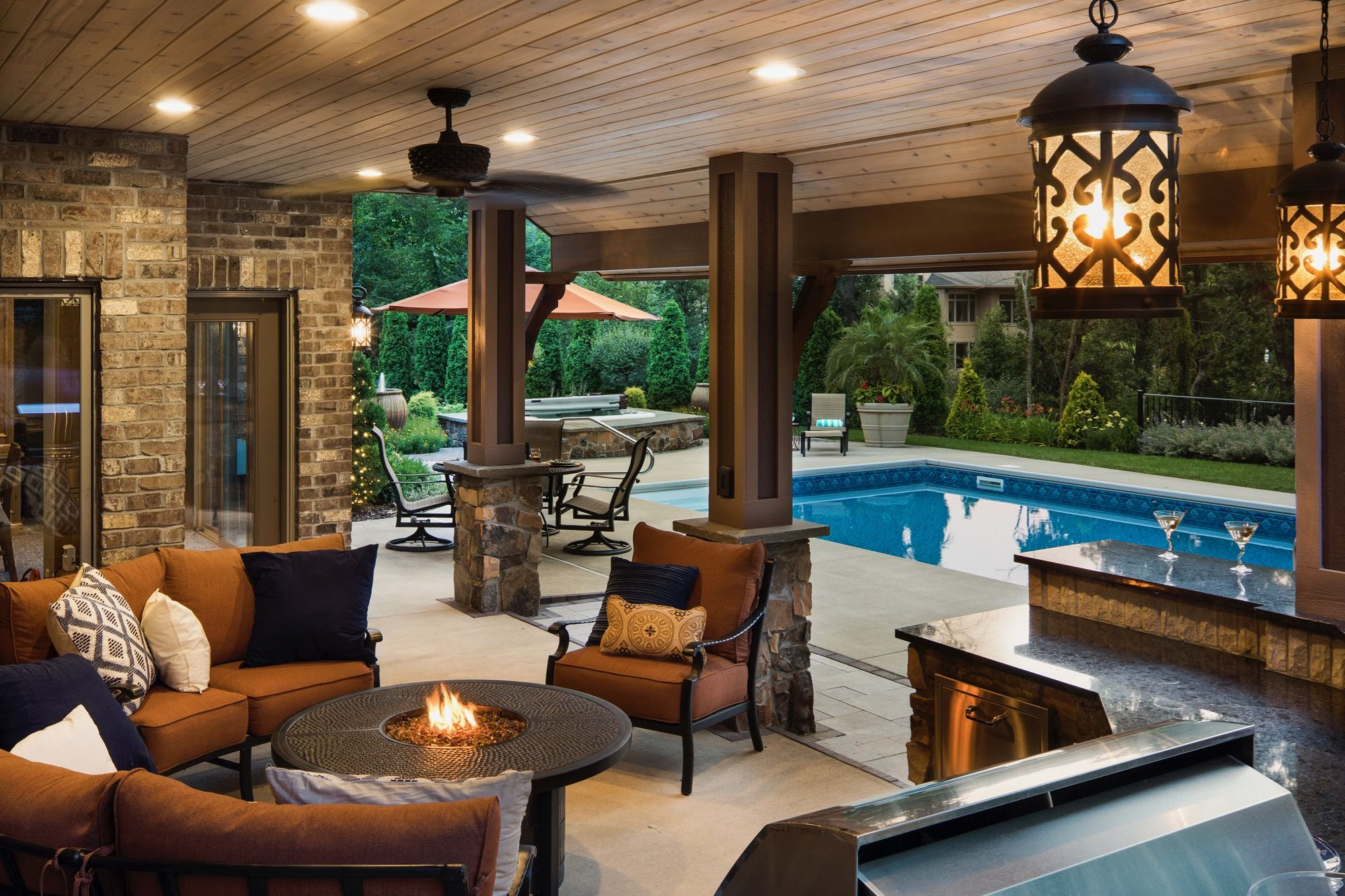 Moms Design Build Outdoor Fireplace Furniture In Ground Pool Hot