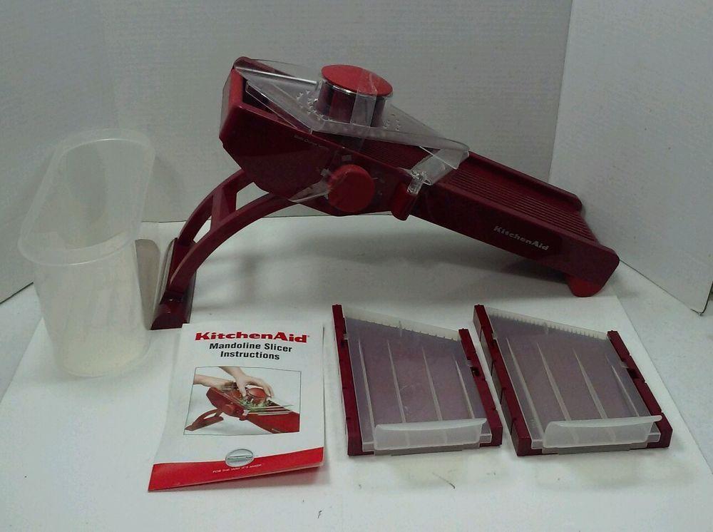 Kitchenaid Red Mandoline Slicer Set Blades Storage Container Adjustable Mandolin Slicer Mandoline Container