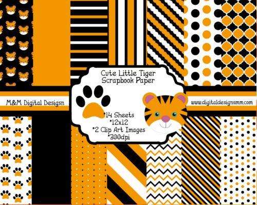 Cute Little Tiger Scrapbook Kit Instant Download Scrapbook Papers