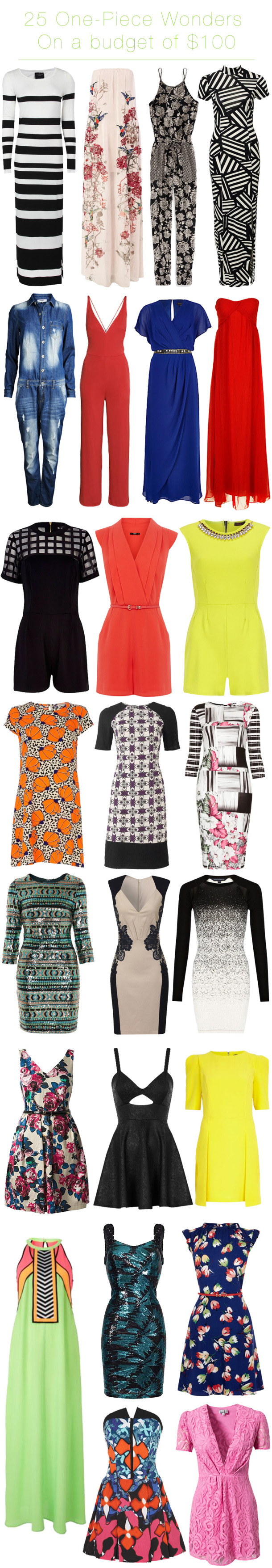one piece wonders - statement dresses, maxi, gowns, overalls, jumpsuit and rompers all on a budget under $100