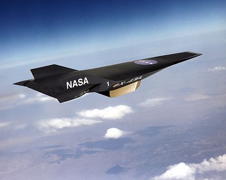 Artist's conception of black, wingless jet with pointed nose profile and two vertical stabilizersThis allows the scramjet to operate efficiently at extremely high speeds: theoretical projections place the top speed of a scramjet between Mach12 (8,400mph; 14,000km/h) and Mach24 (16,000mph; 25,000km/h). travelling high in the atmosphere.