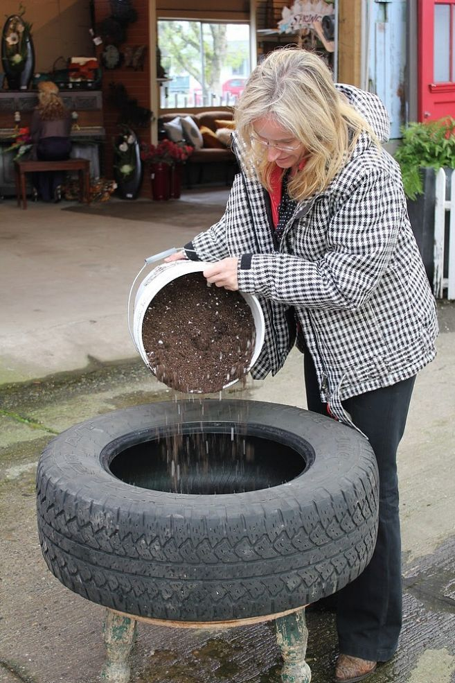 Up Cycled Tire Planter Planters