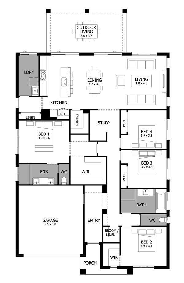 Atrium Single Storey House Design with 4 Bedrooms MOJO