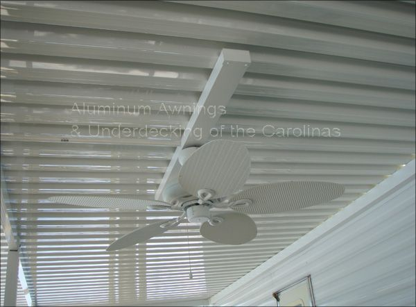 Outdoor Ceiling Fan Installed On Aluminum Patio Cover