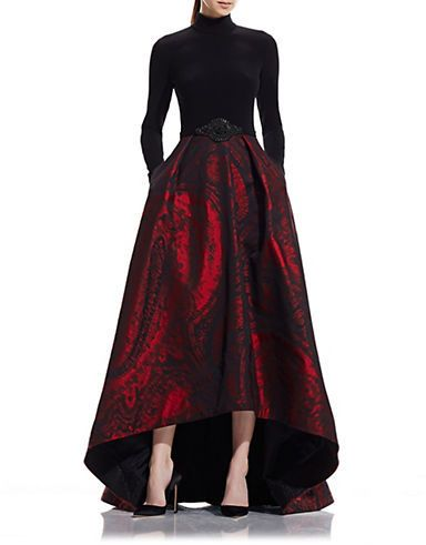 Theia Long Sleeve Jacquard Gown With