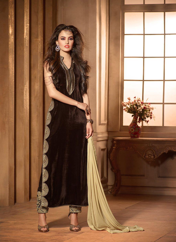 e217f01a7 Brown Velvet Pakistani Style Suit 61624