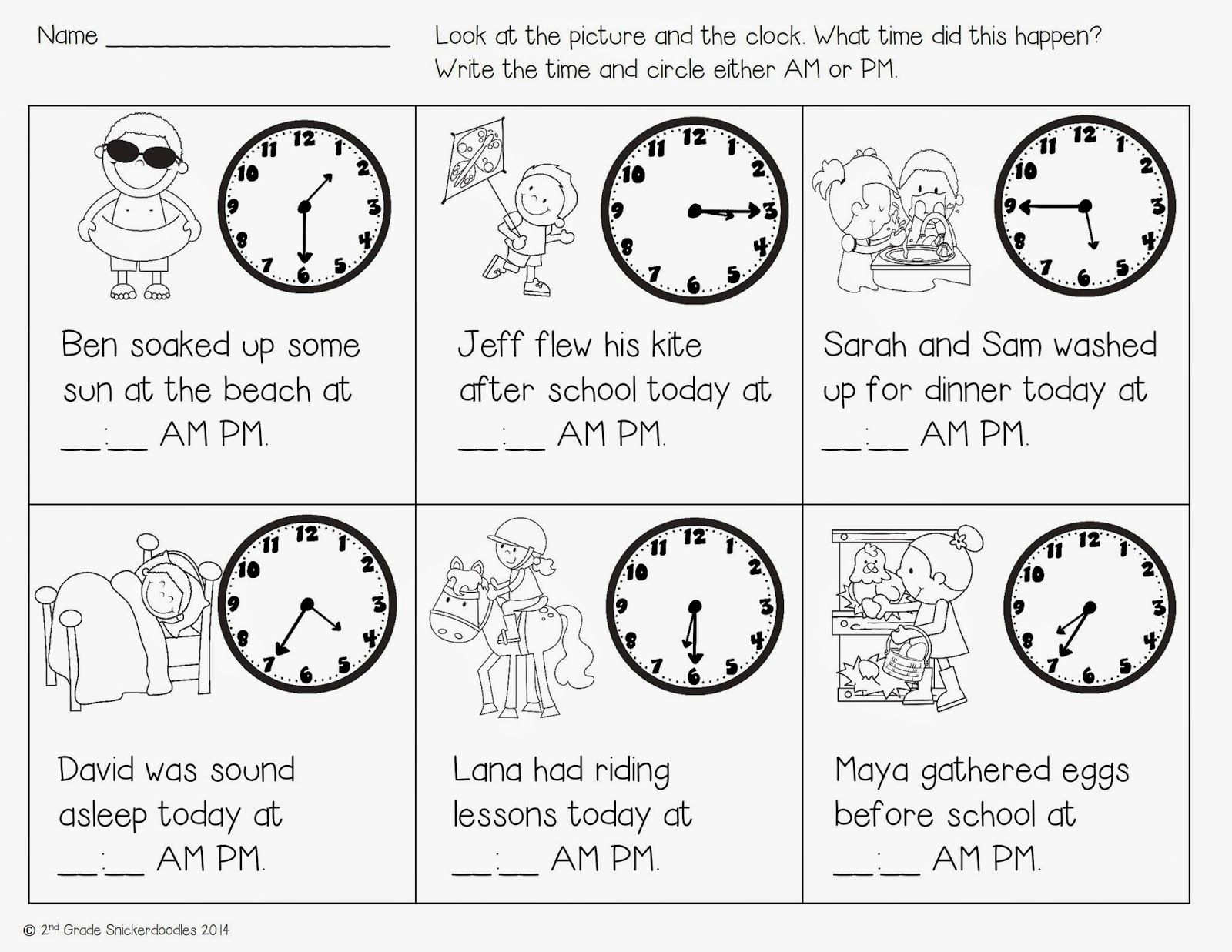 worksheet Am And Pm Worksheets free time with ampm activity and five for friday by 2nd grade snickerdoodles