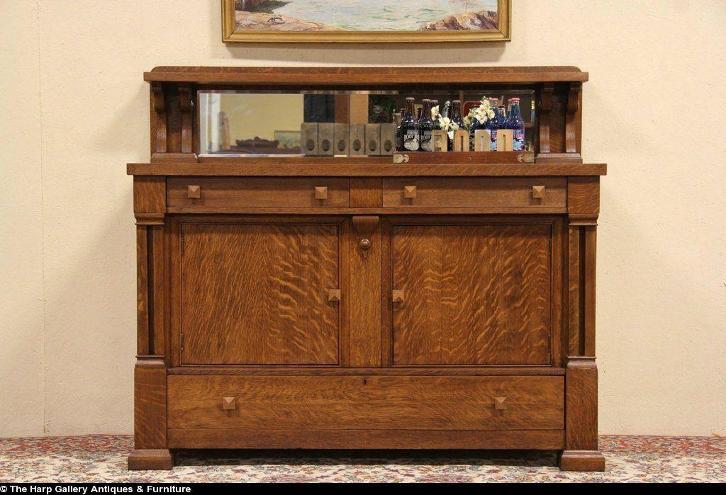 Arts Amp Crafts Mission Oak 1910 Antique Sideboard Server Or Buffet Interesting Furniture No