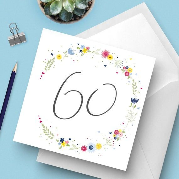 Photo of Bright & Beautiful floral 60th Birthday Card