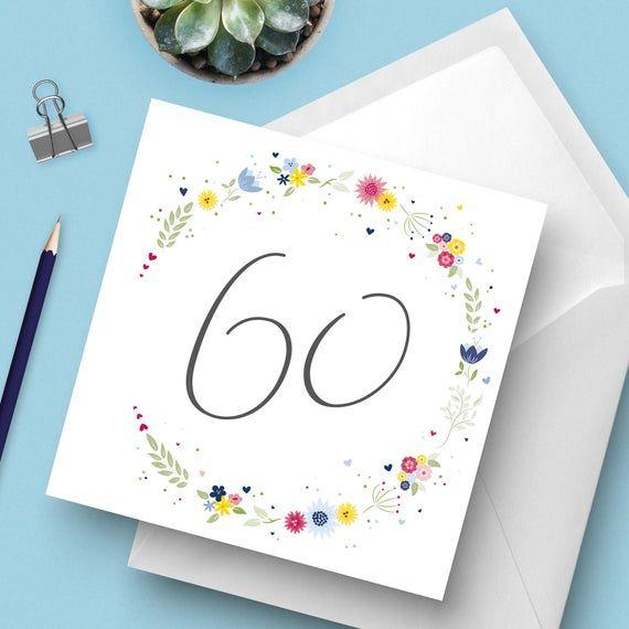 Photo of Helle & Schöne Blumen 60. Geburtstagskarte