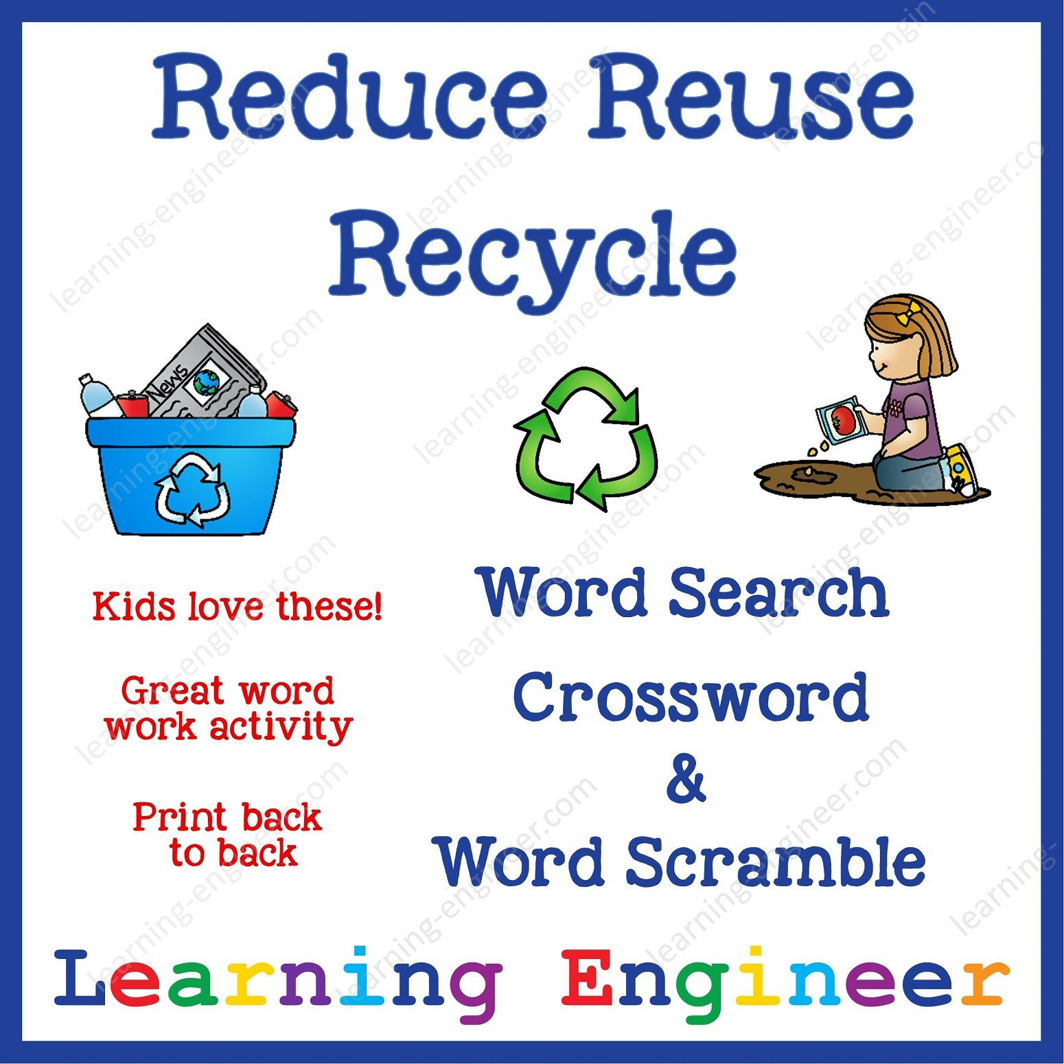Reduce Reuse Recycle Word Search Word Scramble And