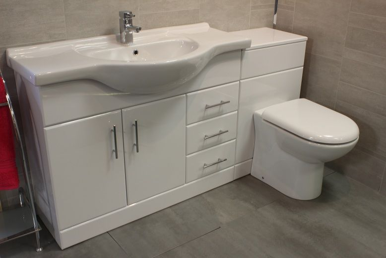Details about Luxury 1050 Bathroom Vanity Unit + BTW Back To Wall WC  Toilet+Cistern Tap Opts - Details About Luxury 1050 Bathroom Vanity Unit + BTW Back To Wall
