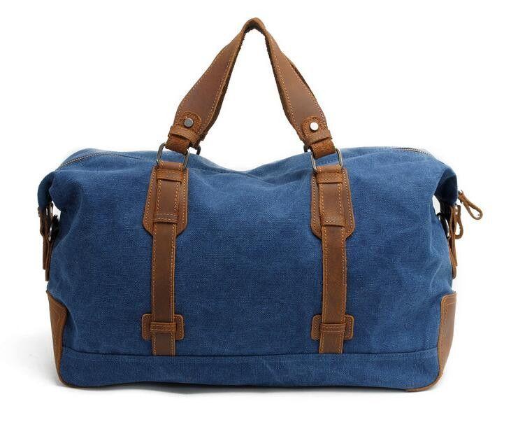 5aea23f6c407 Leather Trimmed Waxed Canvas Travel Bag Duffle Bag Weekender Bag AF11