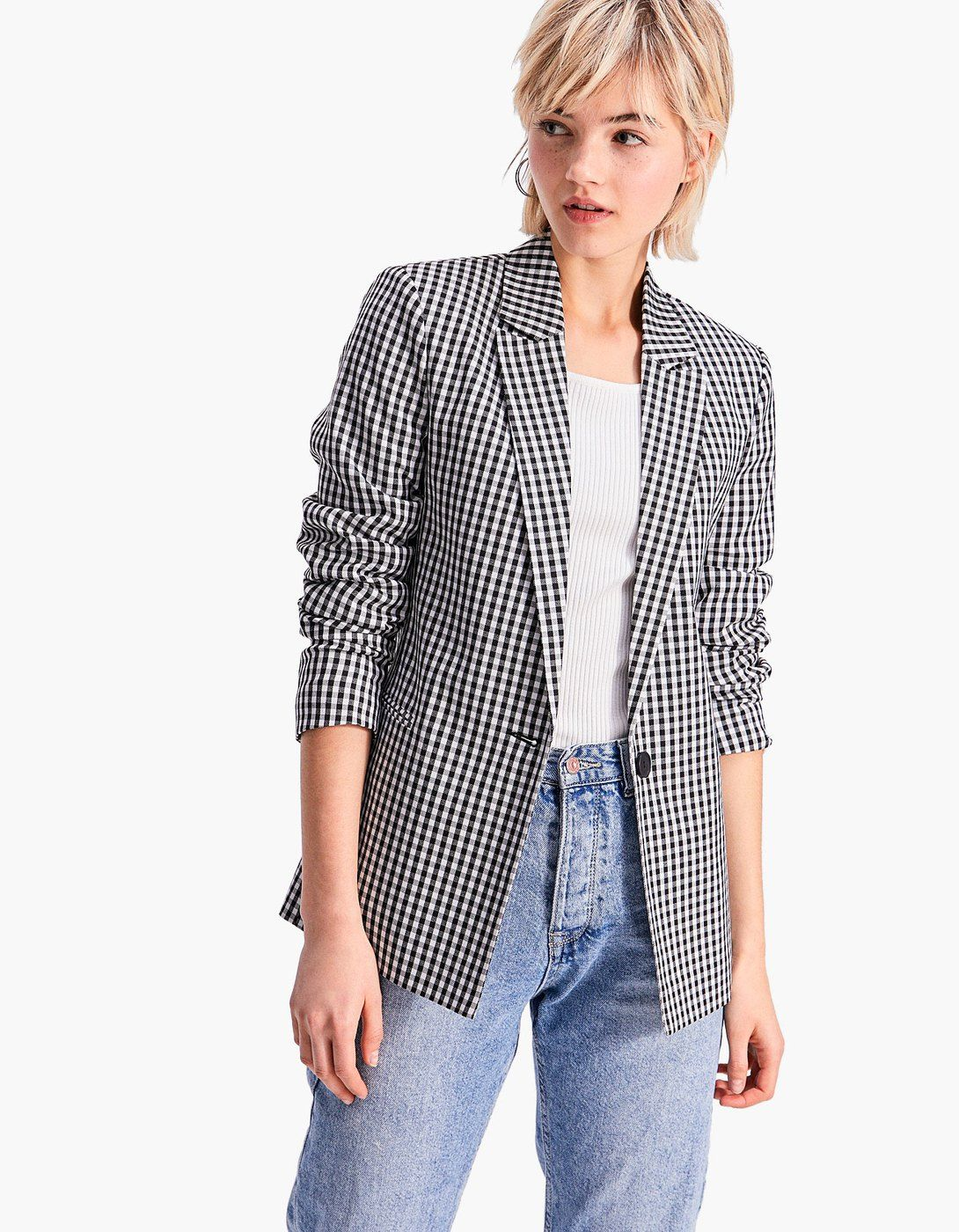6724461ec4a0 Gingham blazer | Jackets & Coats in 2019 | Blazer outfits, Fashion ...