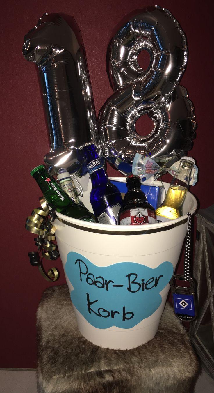 Paar- Bier Korb 18. Geburtstag Geschenkidee #18geburtstag #Idee #Geschenk #geschenkefürmännergeburtstag