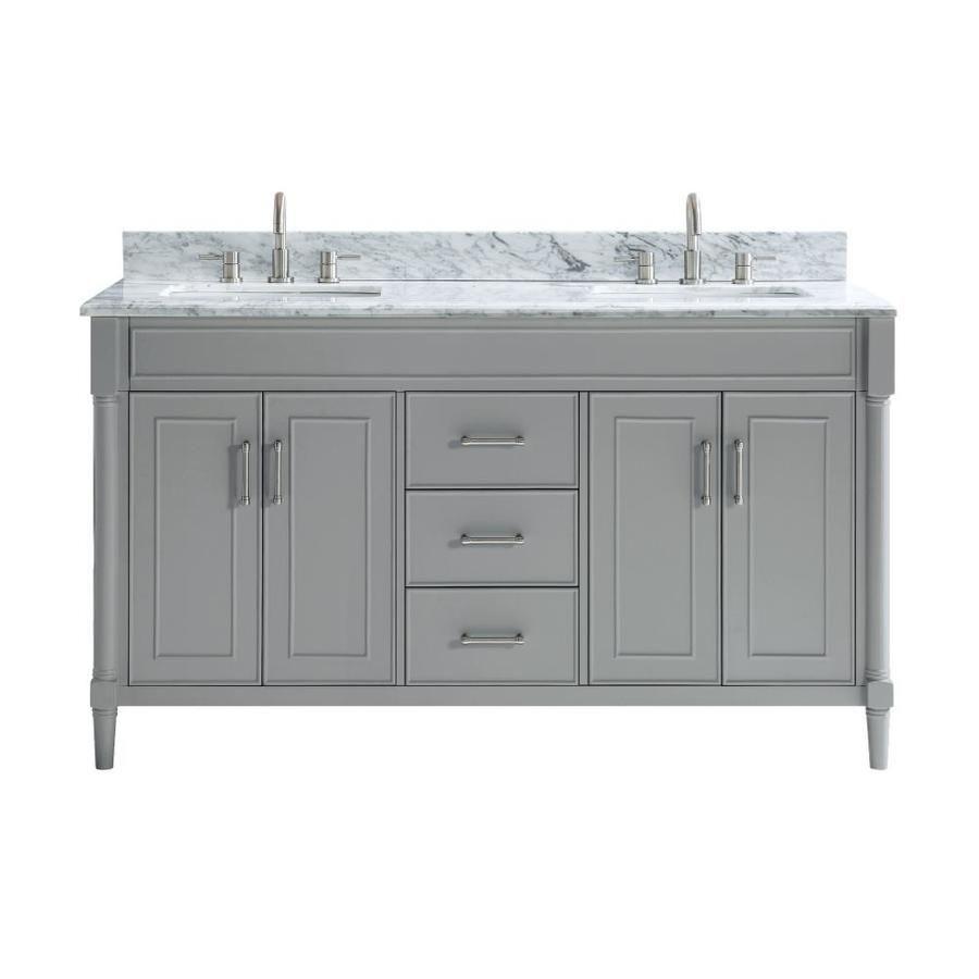 Allen Roth Perrella 61 In Light Gray Undermount Double Sink Bathroom Vanity With Carrera White Natural Marble Top Lowes Com Double Sink Bathroom Bathroom Sink Vanity Double Sink Bathroom Vanity [ 900 x 900 Pixel ]