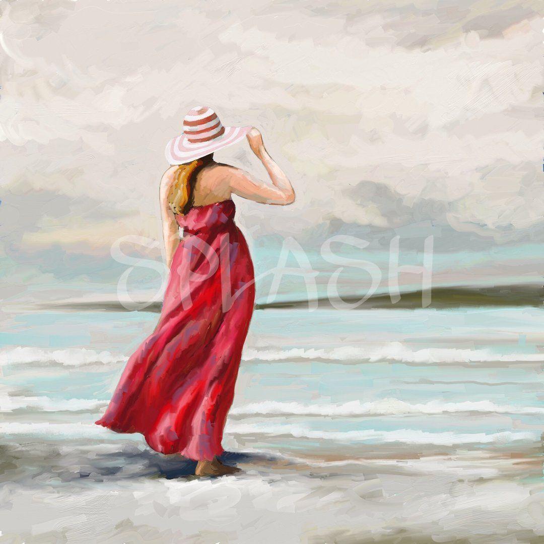 Sp295 Cuadro Moderno Decoración Barato Splash Mujer Playa Sombrero Cielo Cuadros Decorativos Cua Mujer En La Playa Cuadros Modernos Cuadros Modernos Decoracion