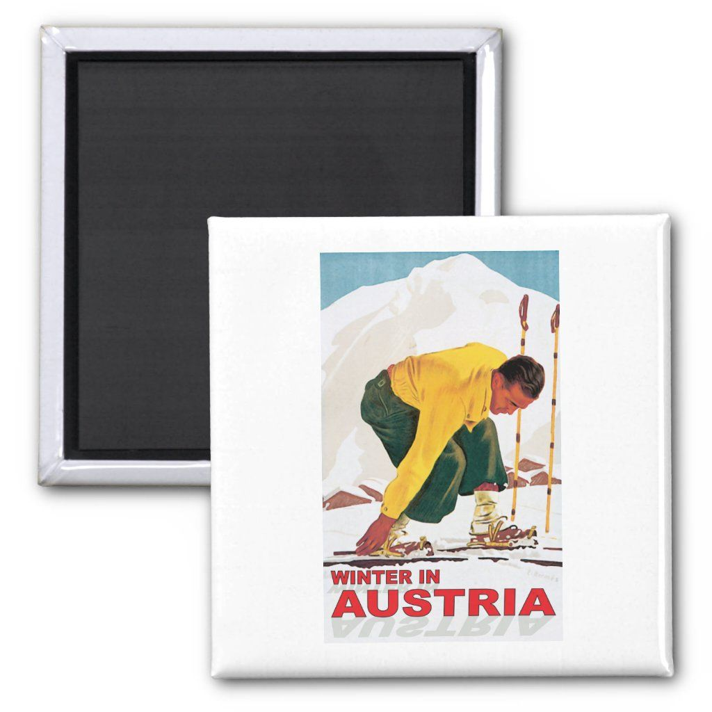 Austria ~ Skiing Ski Winter Sports Austria ... Winter Austria Skiing and Winter Sports scene in powder snow a vintage skier adjust his skies bindings before swishing downhill to the ski lodge. Great design for all who love winter sports, cross-country, telemark, downhill, alpine, freestyle, slalom, jumping and extreme skiing. Size: 2 Inch. Gender: unisex. Age Group: adult.