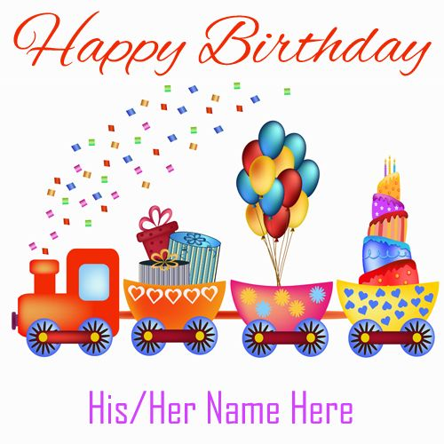 Write Name On Happy Birthday Card With Cartoon Train Hbd Wishes