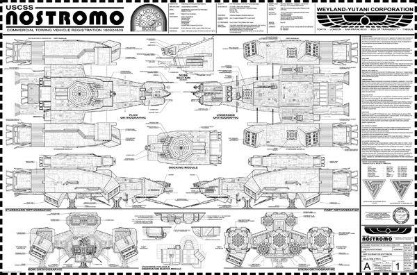 Alienu0027s USCSS Nostromo Blueprint from the book u201cAlien Vault - copy business blueprint for manufacturing