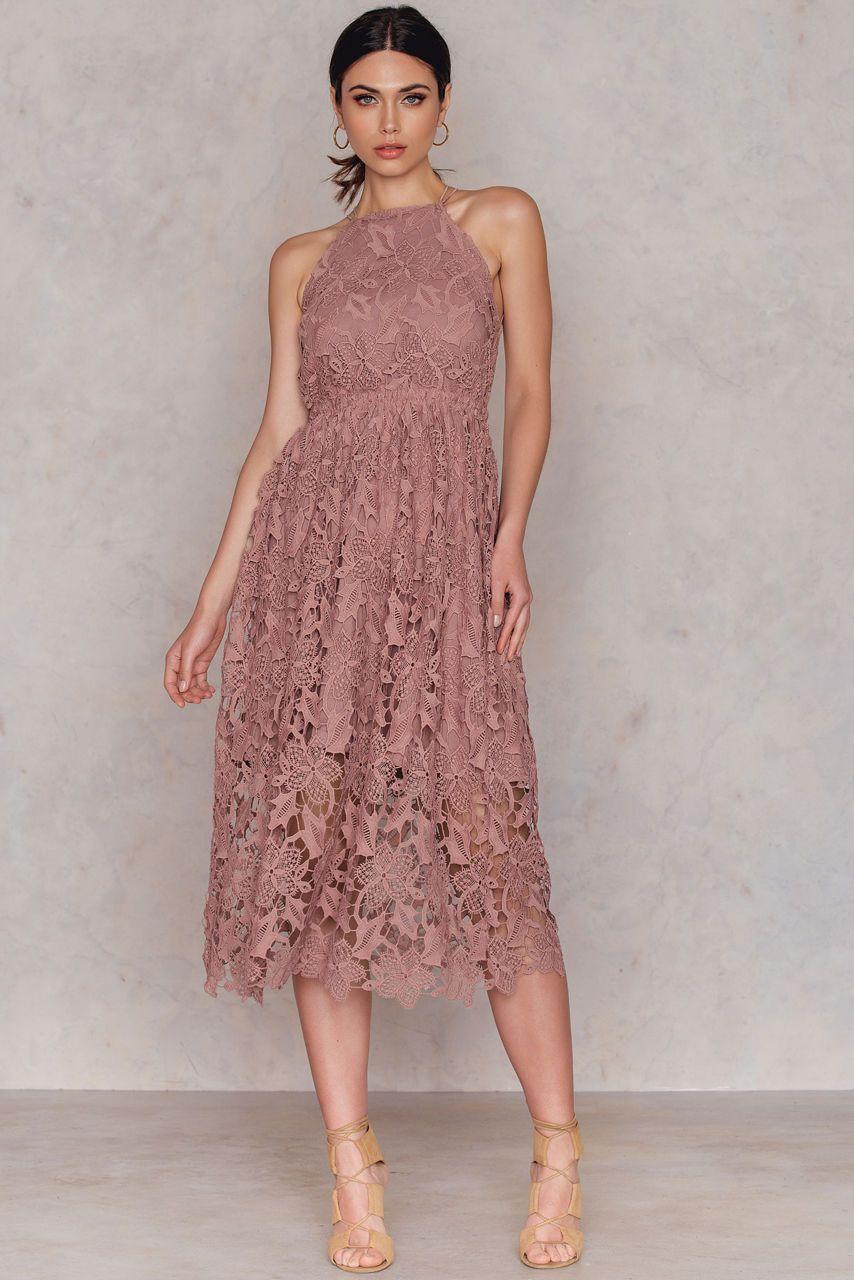 Lyst - Na-Kd Floral Crochet Midi Dress in Pink