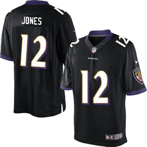 NIKE RAVENS  12 JACOBY JONES BLACK ALTERNATE MEN S STITCHED NFL ... 96d6336be