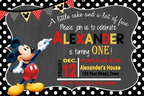 MICKEY MOUSE INVITATION Mickey Birthday Card Mouse Party Invitation Boys