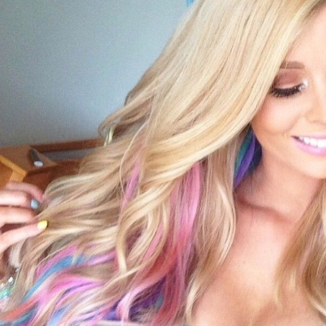 Blonde Hair With Blue And Pink Highlights Gorgeous Long Blonde Hair