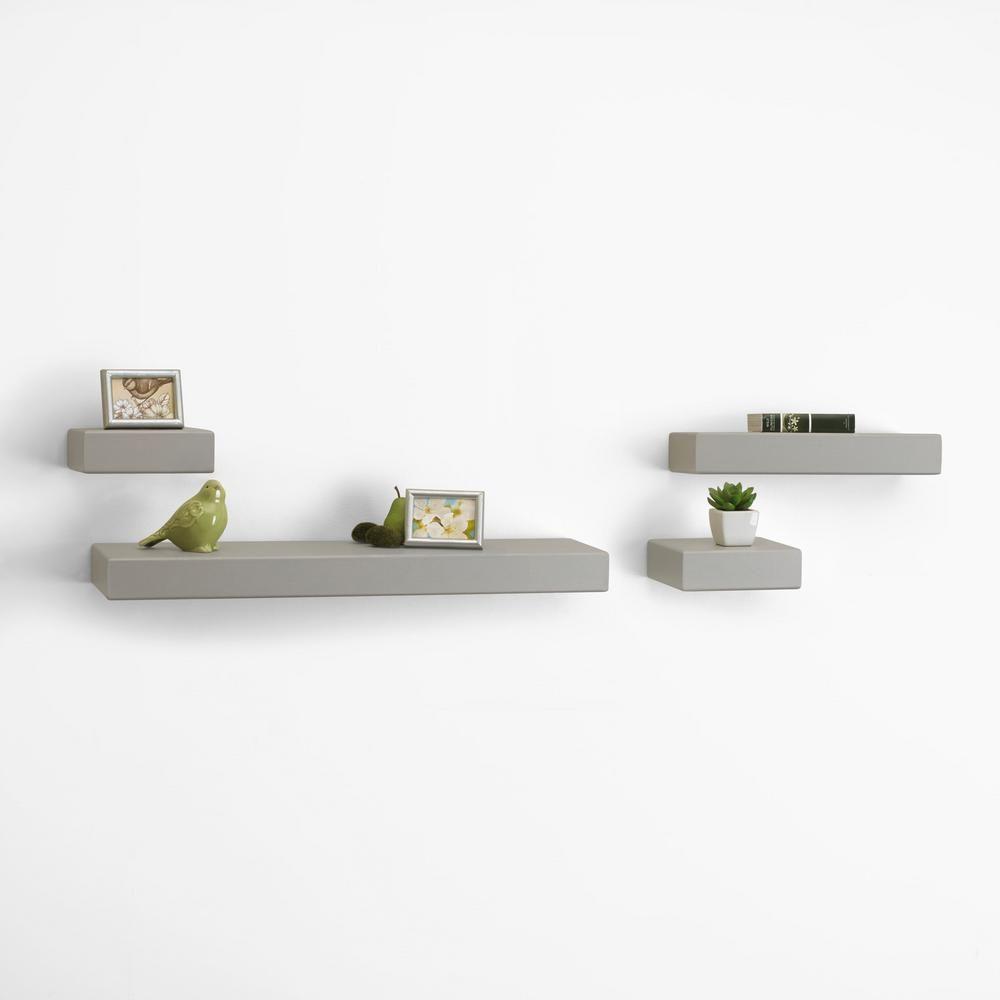 Melannco 4 Piece Black Wood Floating Chunky Ledge Decorative Wall