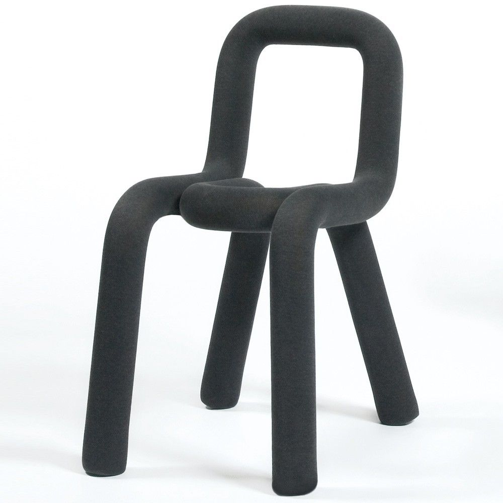 Bold Chair by Moustache Made up of two tubular parts in metal embedded in each other, the Bold chair is an updated version of the tradition of a chair in tubular steel. Inflated with a thin polyurethane foam. With a single stroke, in the manner of the Osvaldo Cavandoli Linea, and thickened similarly to the font which is made bold, the Bold chair succeeds in doing away with the seat and back. Covered with a removable textile coating, the Bold chair can change colour in a few seconds.