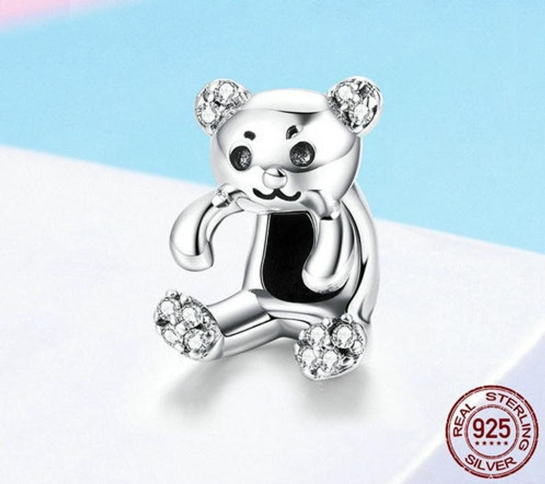 a8e87304d 100% Genuine 925 Sterling Silver and CZ Stones / Little Bear Charm / Fits  Pandora
