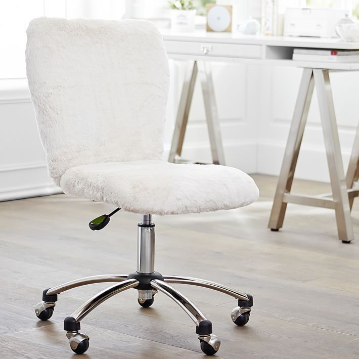 white modern office chair white rolling. Fluffy Spinny Chair Good For Comfy Desk/table Seating White Modern Office Rolling E