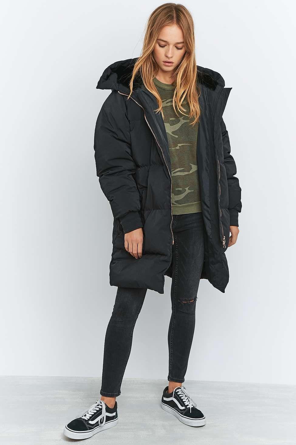 adidas Longline Black Puffer Jacket | Black puffer jacket, Puffer
