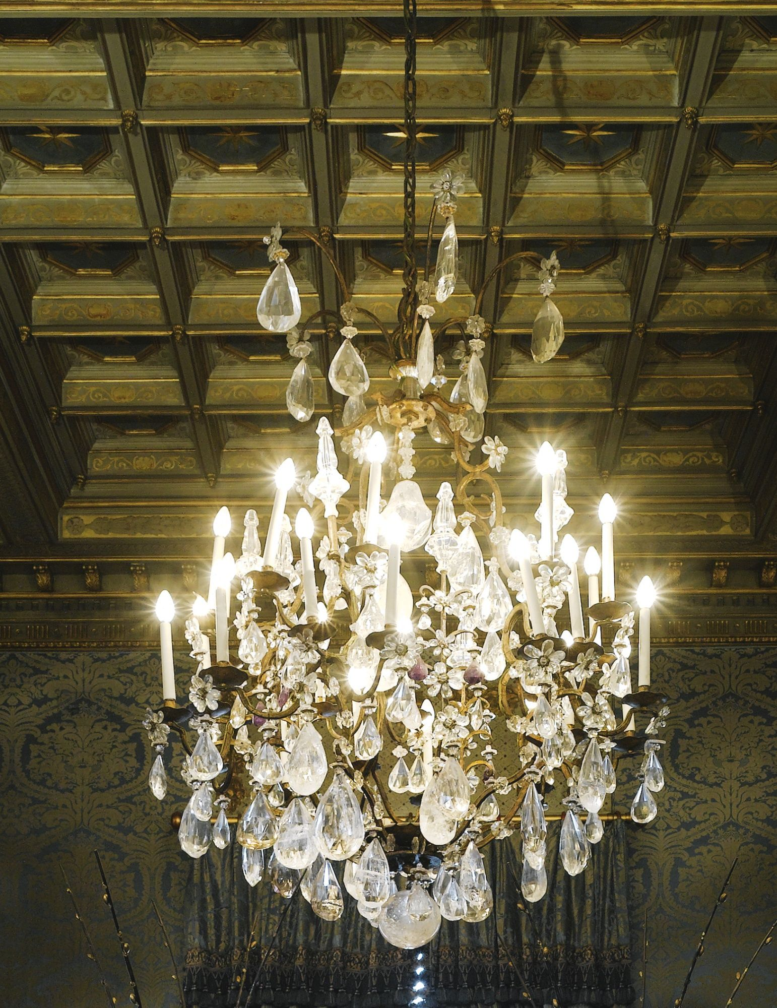 A French Gilded Iron Mounted Rock Crystal And Amethyst Glass Chandelier In 18th Century Style