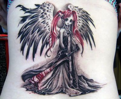 red hair angel girl tattoo