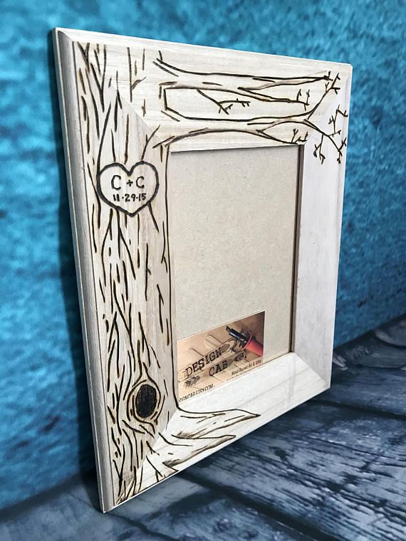 Frame For Dad Gift Tree Picture Frame Wood Burned Heart Initials Engraved Anniversary Gift Wedding Gift 5 X 7 Giftships Free Wedding Picture Frames Wood Picture Frames Tree Gift