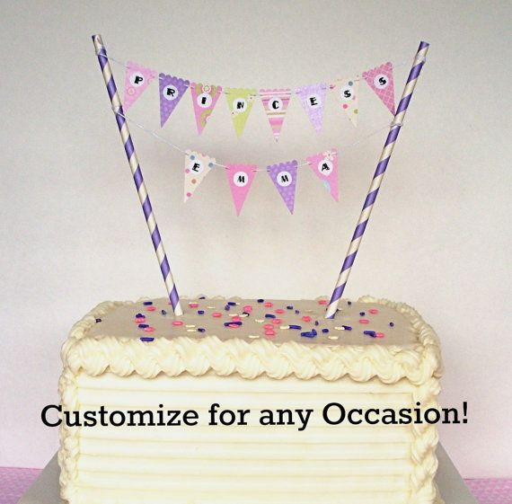 Cake Banner Bunting DIY Kit Happy Birthday Baby Shower Princess Party Tea Etc Topper Or Cupcake