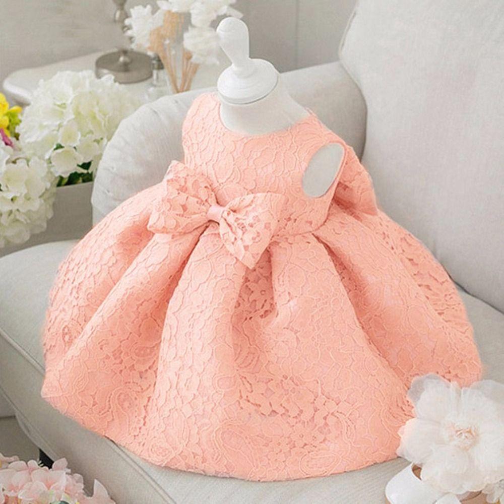 Au Détail De Mode Formelle Nouveau Né De Mariage Dress Bébé Fille Arc Motif Pour Enfant En Bas Robe D Anniversaire Bébé Robe Pour Tout Petits Robe Soirée Fille