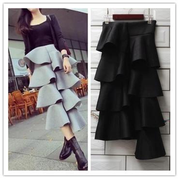 0a0b71643 2017 New Fashion Cake Skirt Asymetric Layer Cake Black Long Skirt  Cottonliilgal