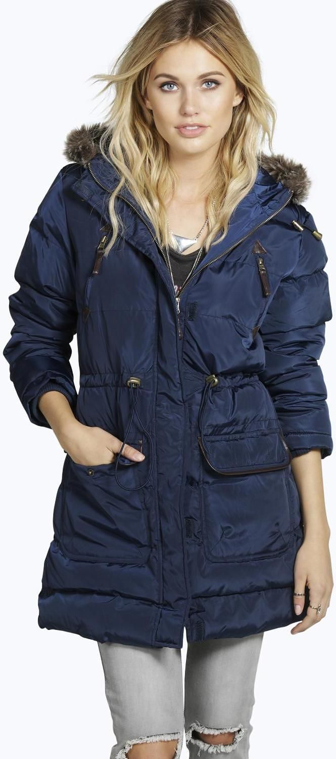 Womens Air Force Blue Padded Jacket With Faux Fur Trim Hood From