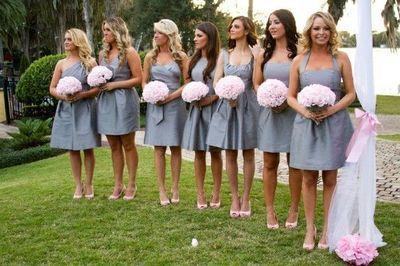 Pink And Grey Wedding Silk Flowers Wedding